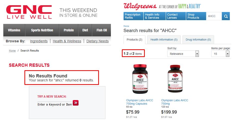 AHCC HPV 2015 GNC Walgreens CVS Vitamin Shoppe