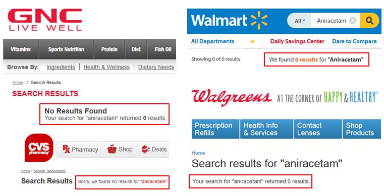 Aniracetam GNC Walmart Walgreens Vitamin Shoppe CVS Amazon