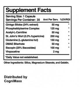 CogniMaxx XL Ingredients