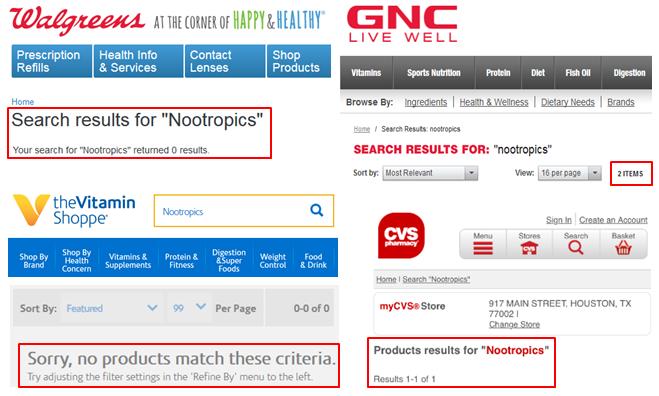 Nootropics GNC Walmart Walgreens CVS Vitamin Shoppe