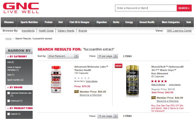Fucoxanthin Where To Buy GNC Walmart Walgreens CVS